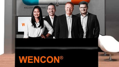 Wencon virtual booth with the 4 Wencon Team of Avatar Area Sales Managers, and 3d illustration of Ballast pipe with Wencon repair applied, in the background.